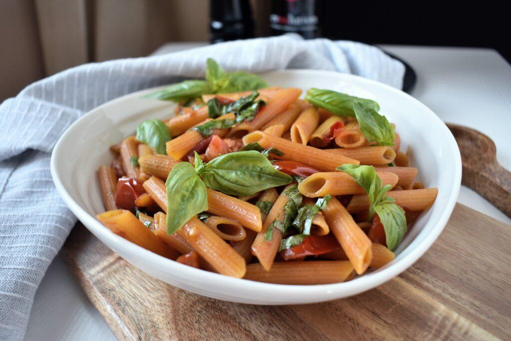 Balsamic Basil Lentil Penne Pasta Recipe