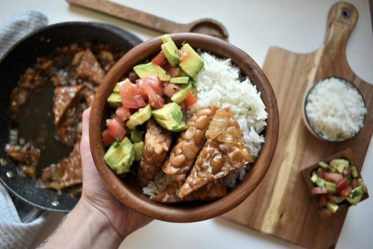 Tempeh Adobo with salsa and rice