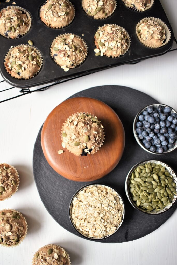 Vegan Blueberry Muffin Recipe with Pumpkin Seeds and Oats