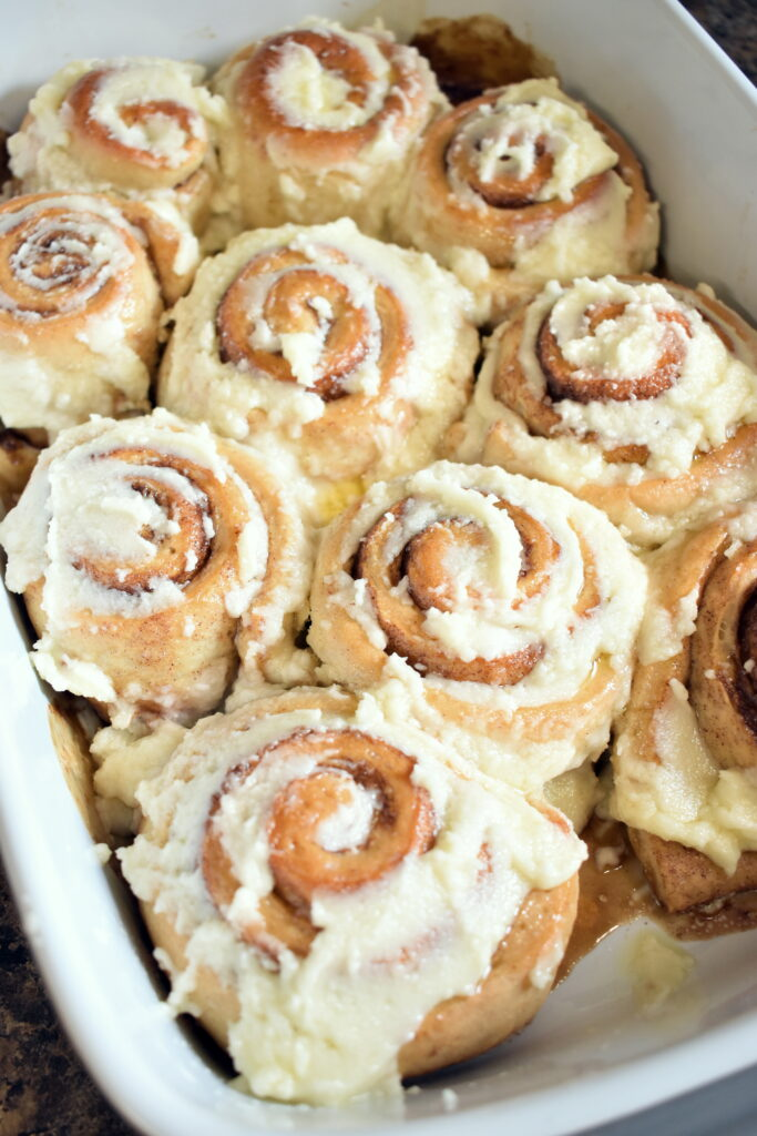 Vegan Cinnamon Buns with frosting