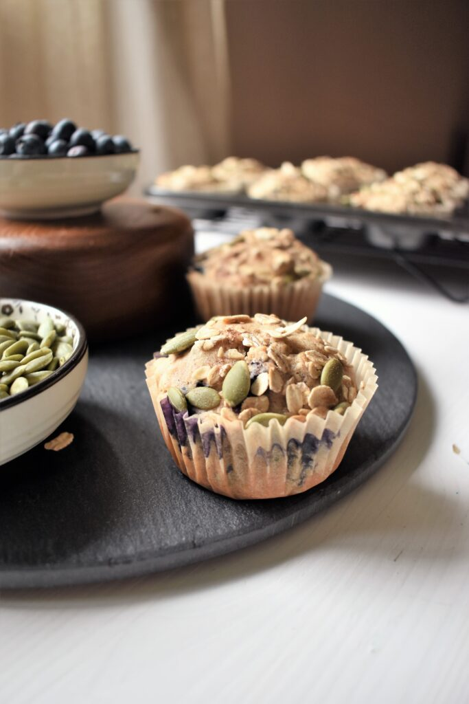 Vegan Blueberry Pumpkin Seed Muffins