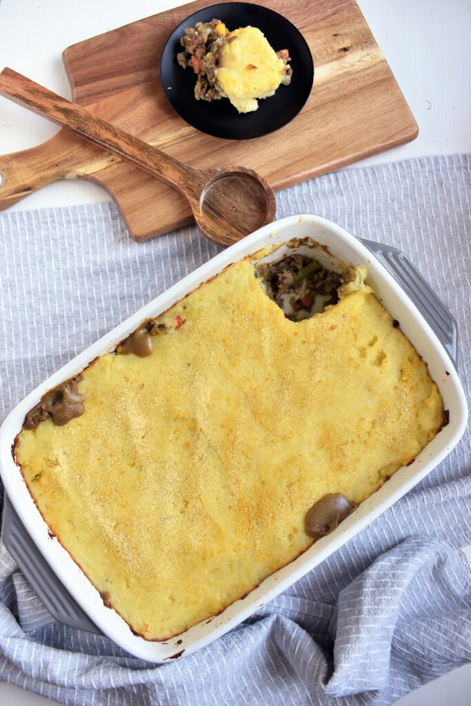 Vegan Shepherds Pie Plant Based Dinner with Green Lentils
