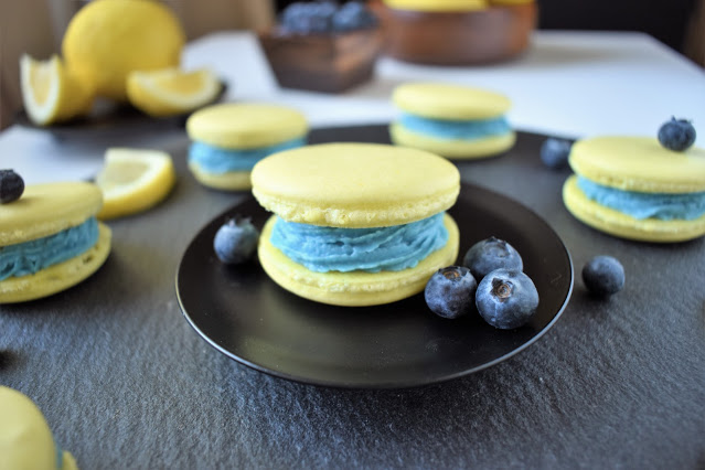 Lemon Blueberry Vegan Macarons