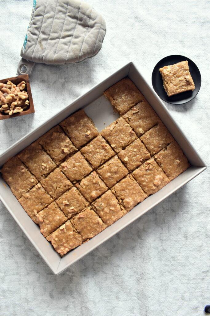 Vegan Blondies Squares - Walnut Butter Tart Bars
