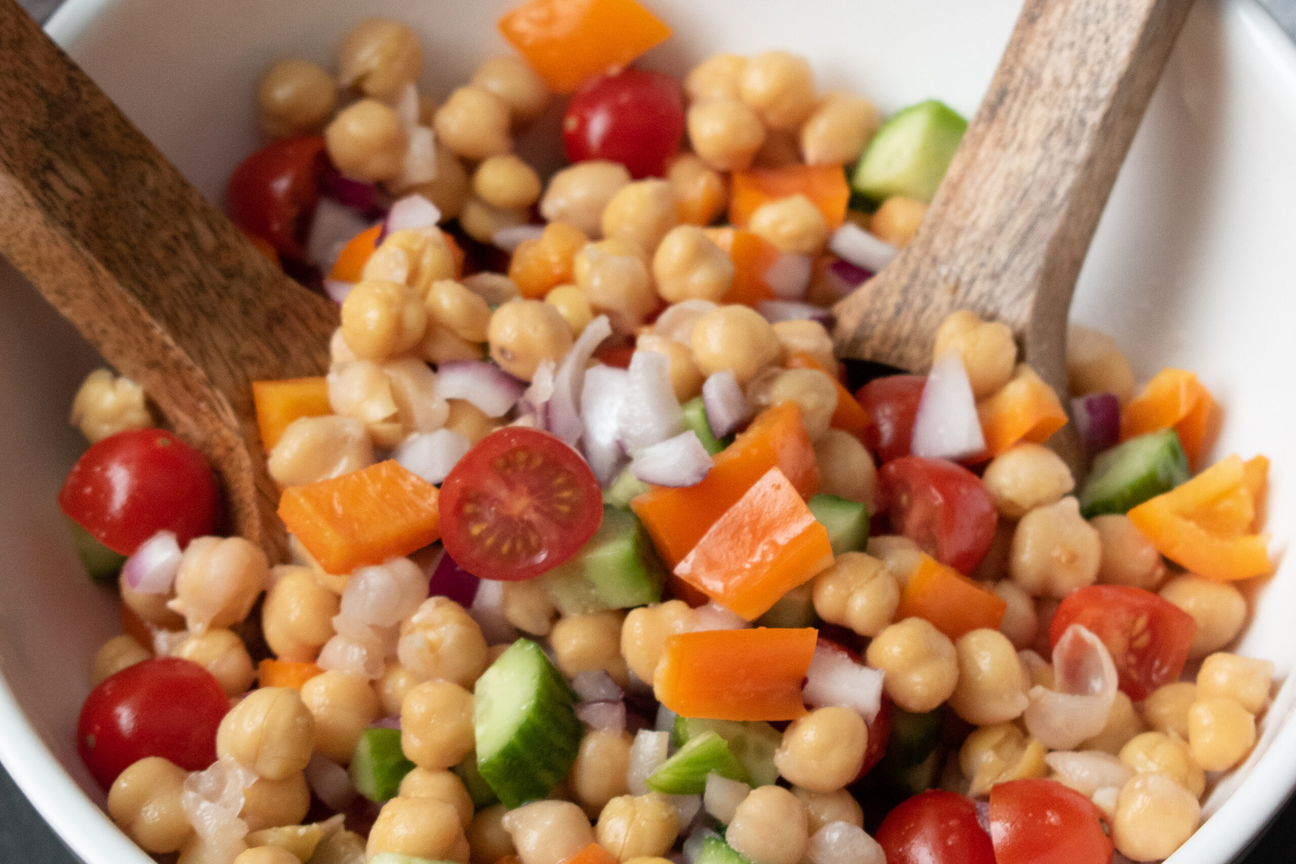 Quick Chickpea Salad with Sweet Onion Dressing