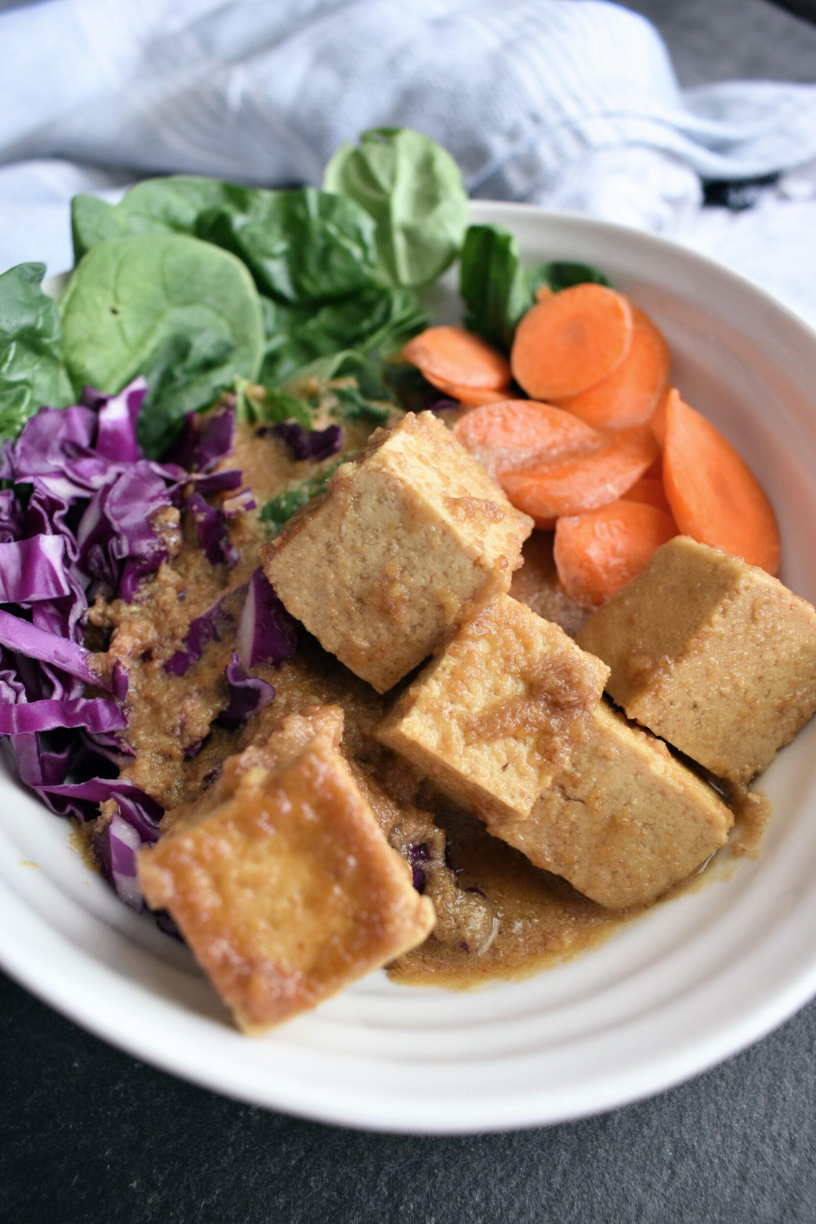 Baked Peanut Sauce Tofu