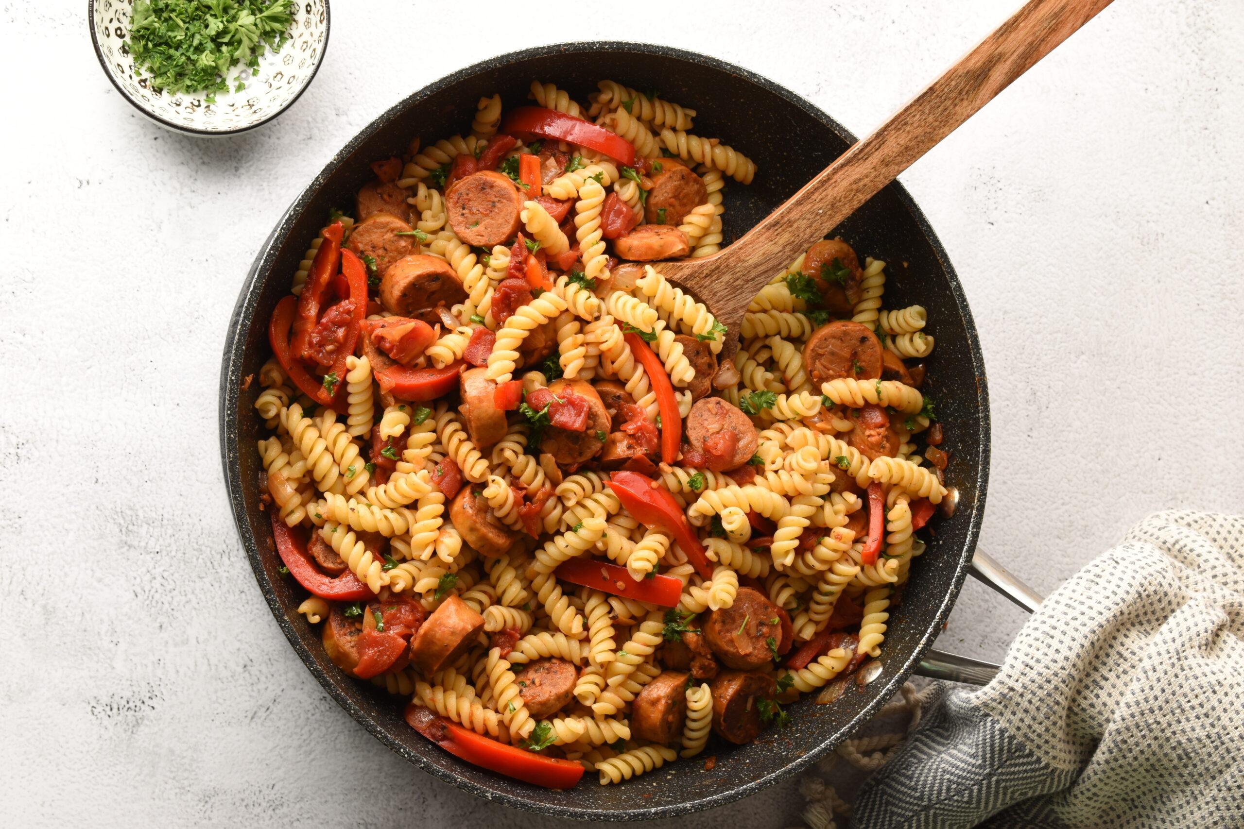 Vegan Sausage Pasta Skillet