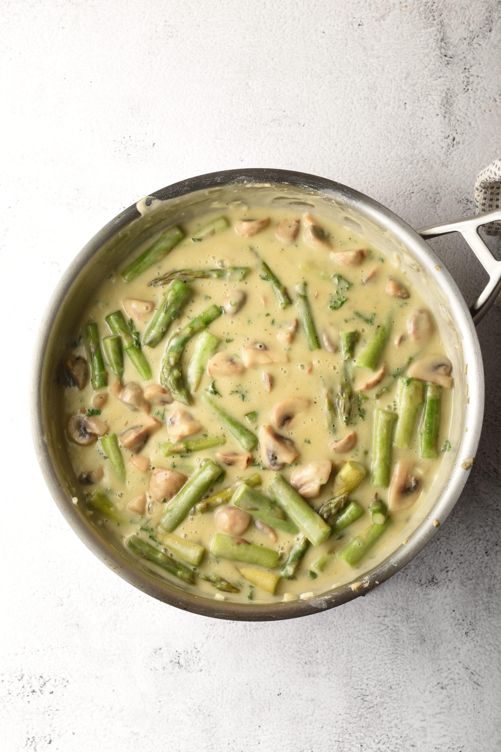 Mushroom and Asparagus Vegan Creamy Nut Free Alfredo Pasta Sauce