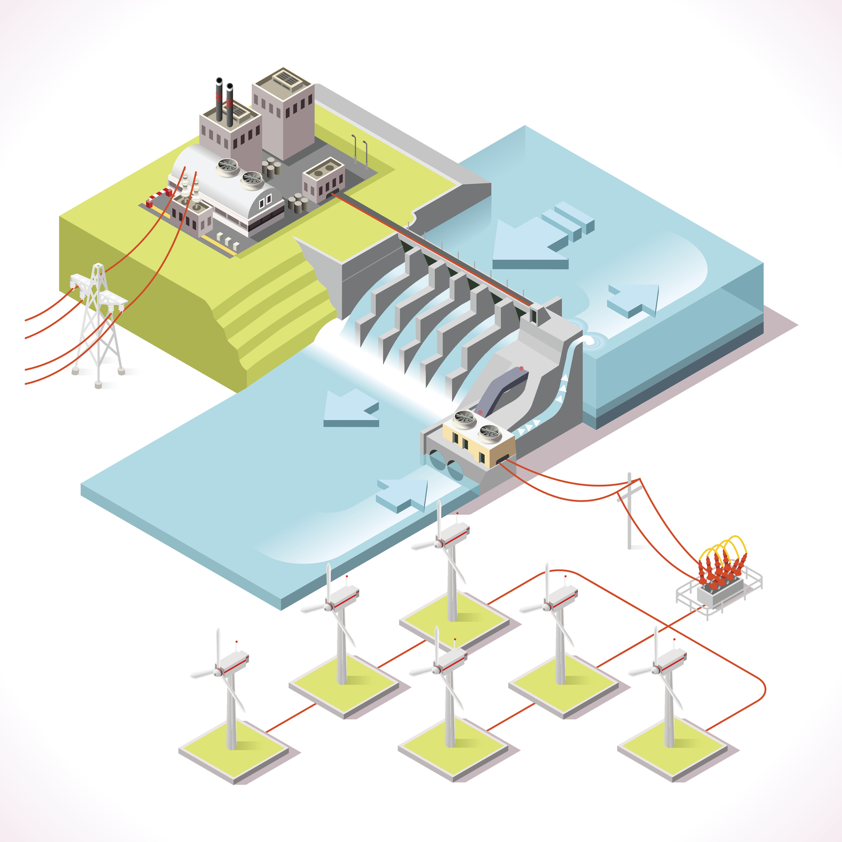 Infographic of hydroelectric pant and wind farm