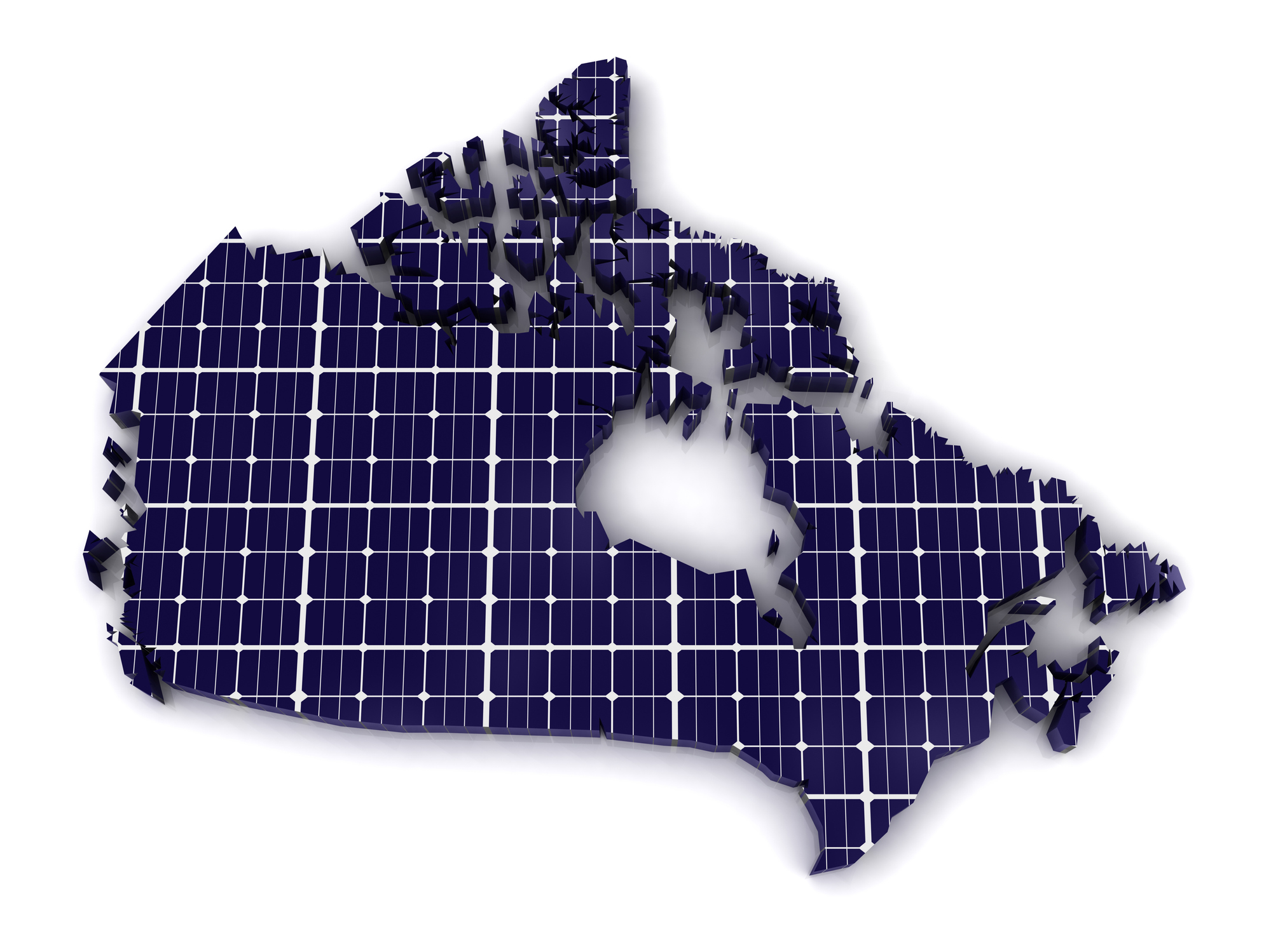 A geographical outline of Canada represented as a large solar PV panel.