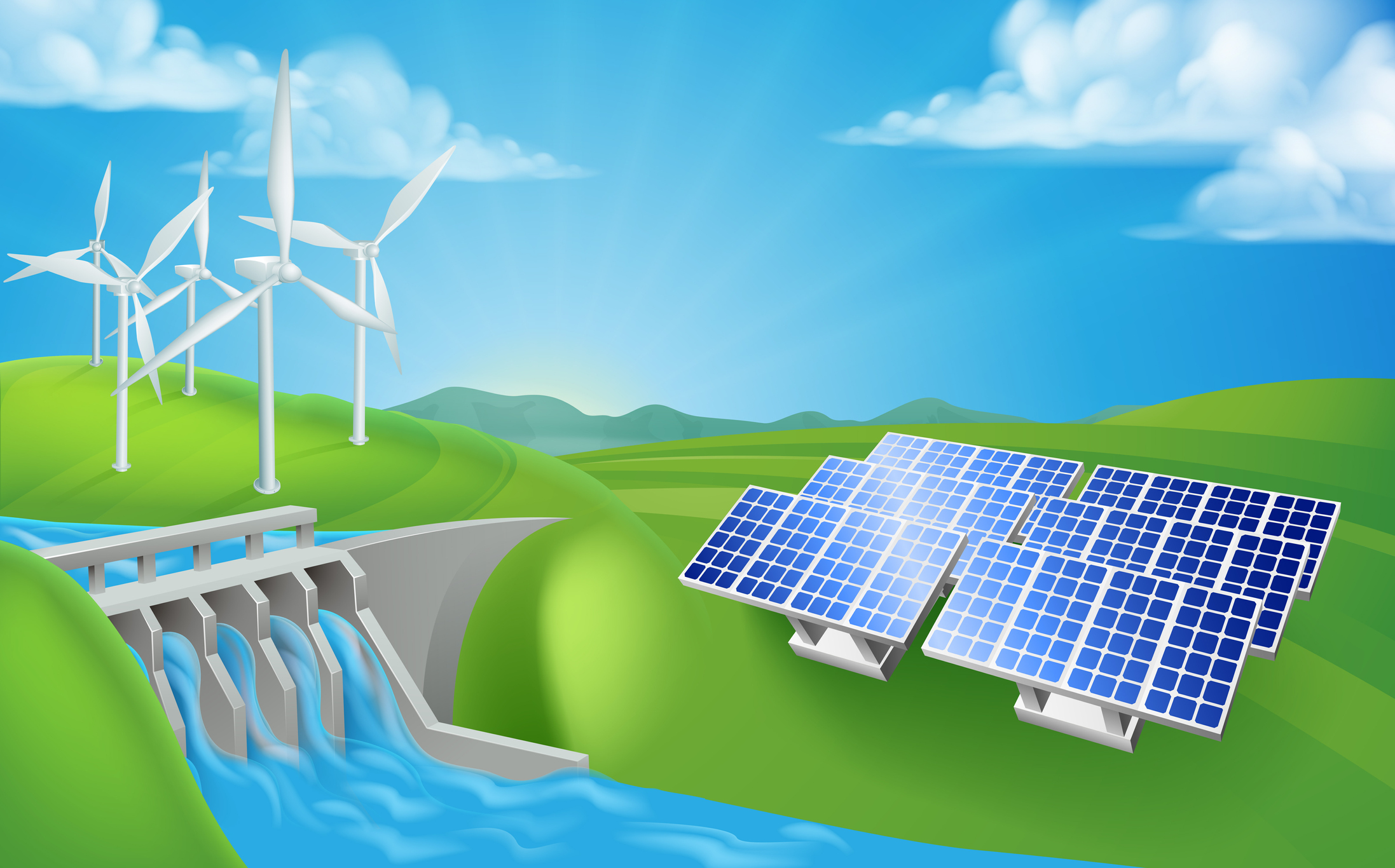 Solar panels and wind turbines on the downstream face of a hydropower hybrid plant dam.