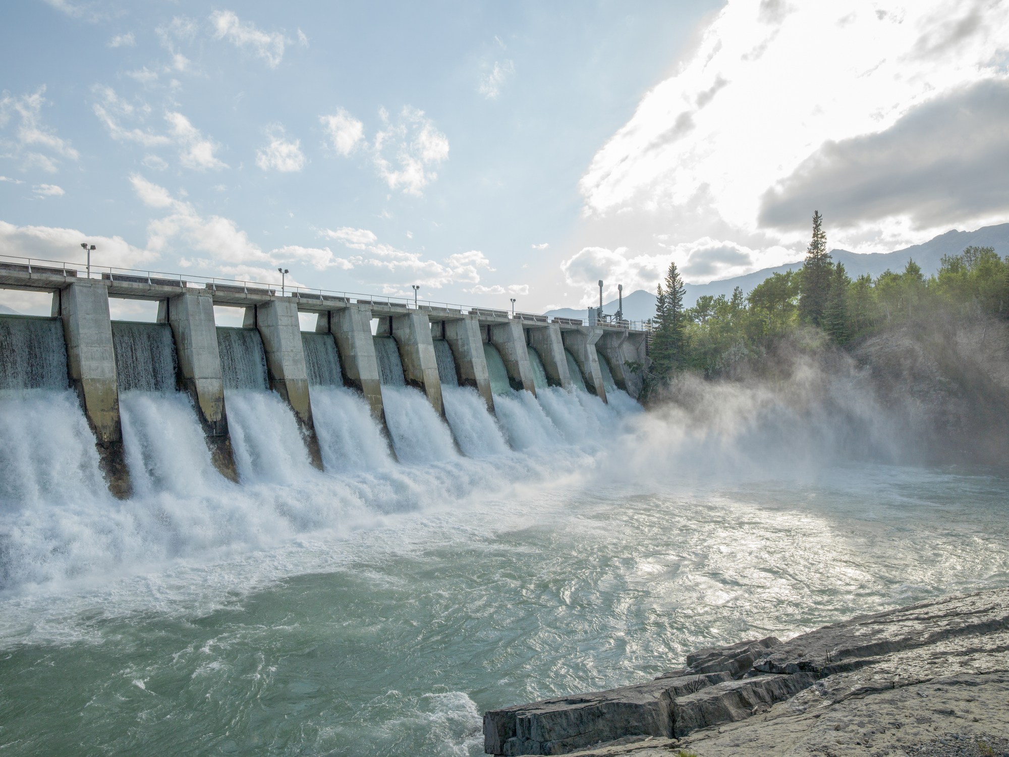 Fast running water at a hydropower plant in Canada.