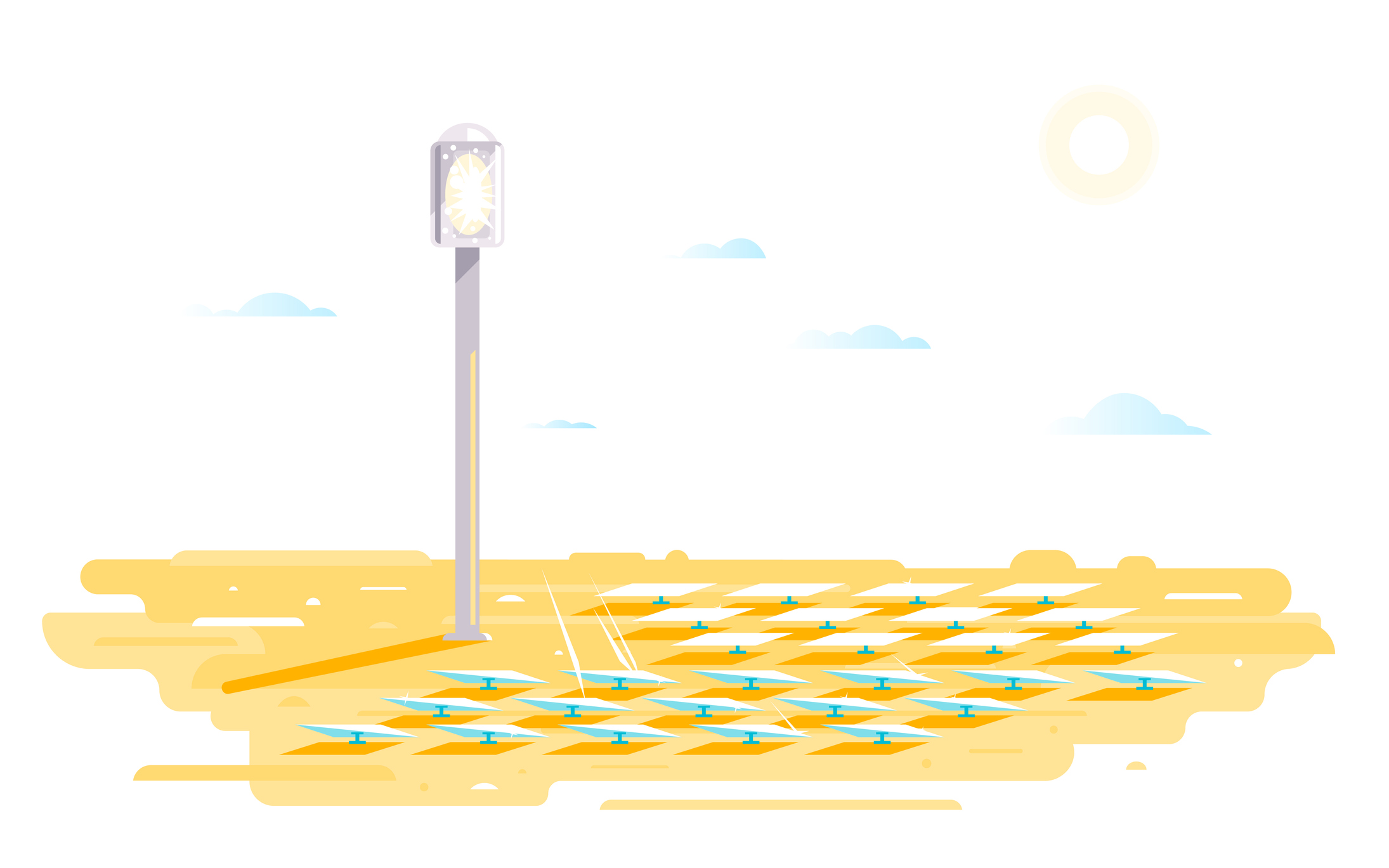 An illustration of a heliostat with lots of flat sun-tracking mirrors in a desert.