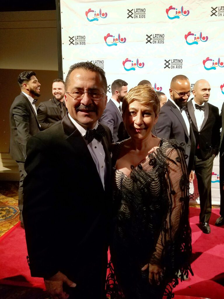 A man and a woman during the Cielo: Designing a World without AIDS '16 Gala