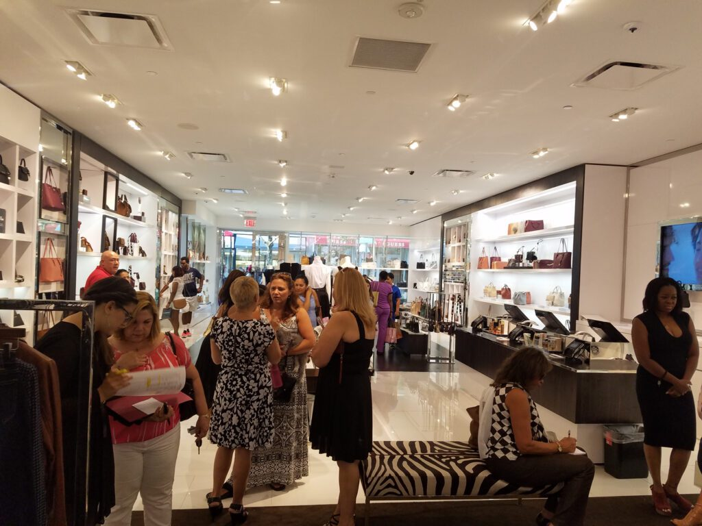 Women in the fashion strore during the membership drive