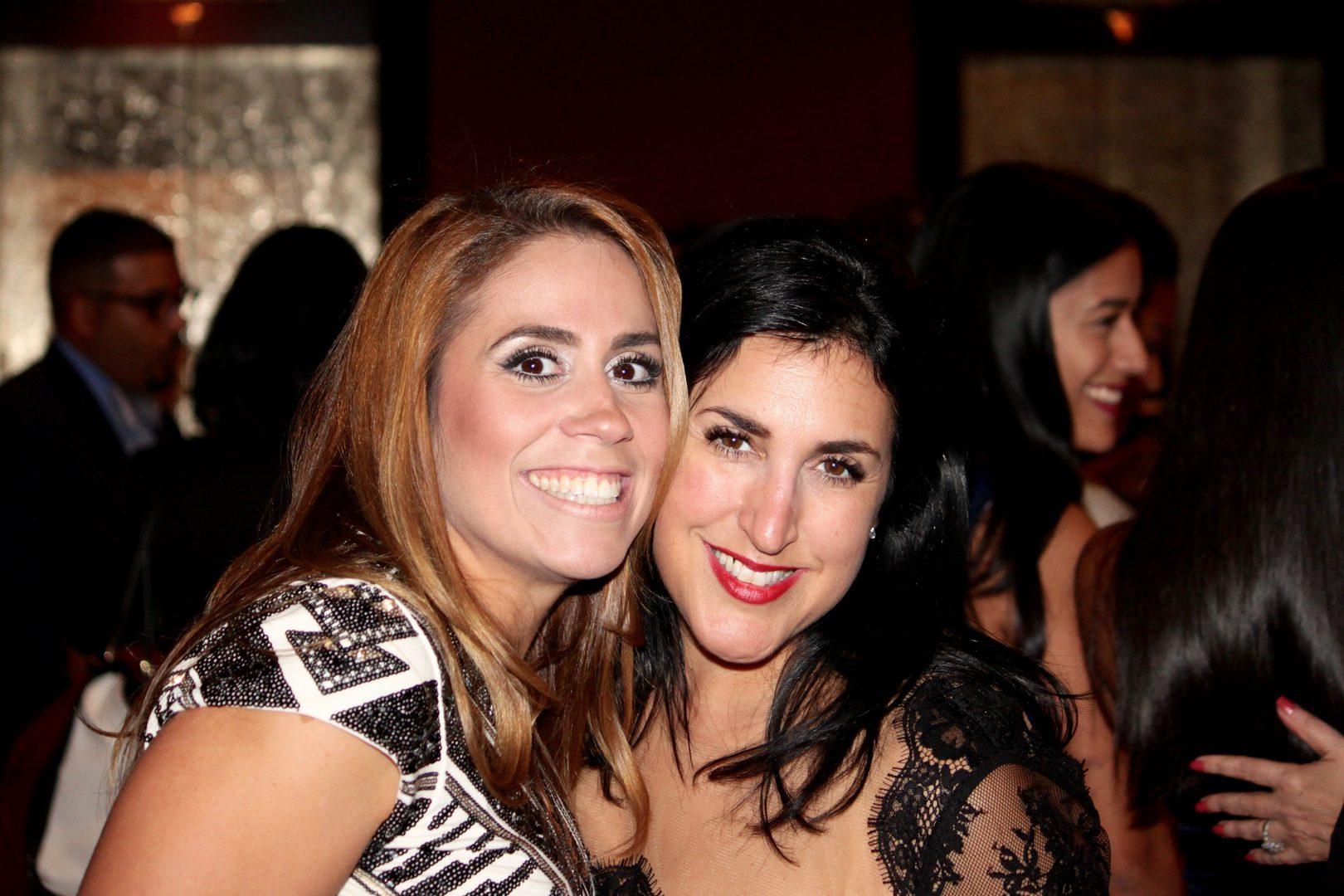 Two happy women smiling
