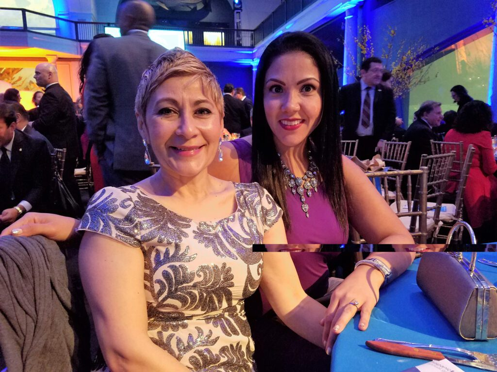 Nancy with a woman at the gala event