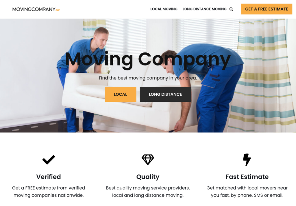 MovingCompany.biz Moving Website