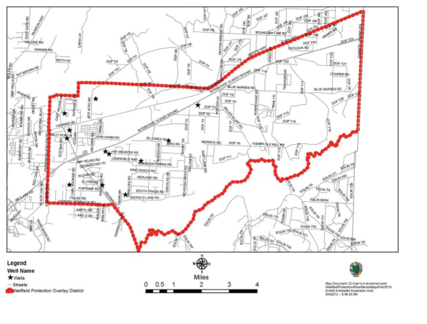 Map of East Milton Wellfields Protection Area