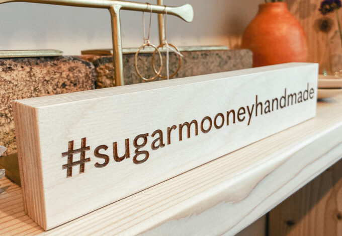 Tabletop sign for retail shop with hashtag