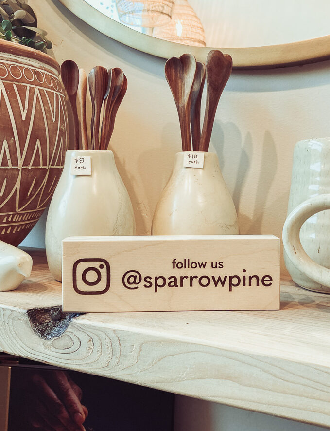 Tabletop Sign with social media handle engraved on wood