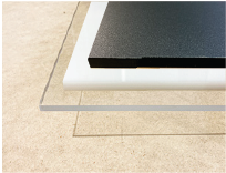 Clear, white, and black acrylic for dimensional graphics