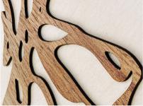 Laser Cut walnut graphics for signage