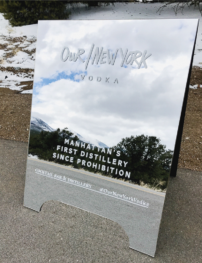 Mirrored and reflective business a frame sign