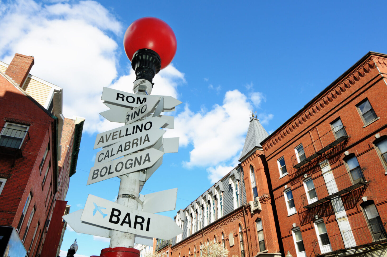Sign,Depicting,Direction,Of,Different,Italian,Cities,In,The,Little