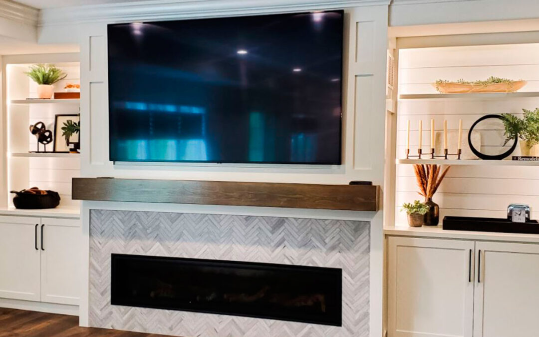 Recent Project: Fireplace Surround + Custom Built-in Design