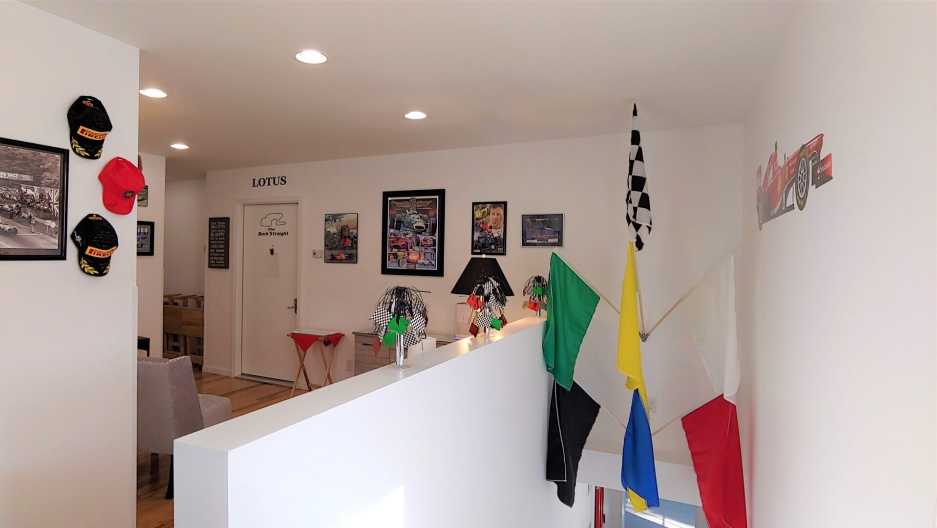 Upstairs Race Flags