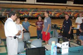 Tony Bilello teaching a group of bowlers at the Dick Ritger Bowling Camp