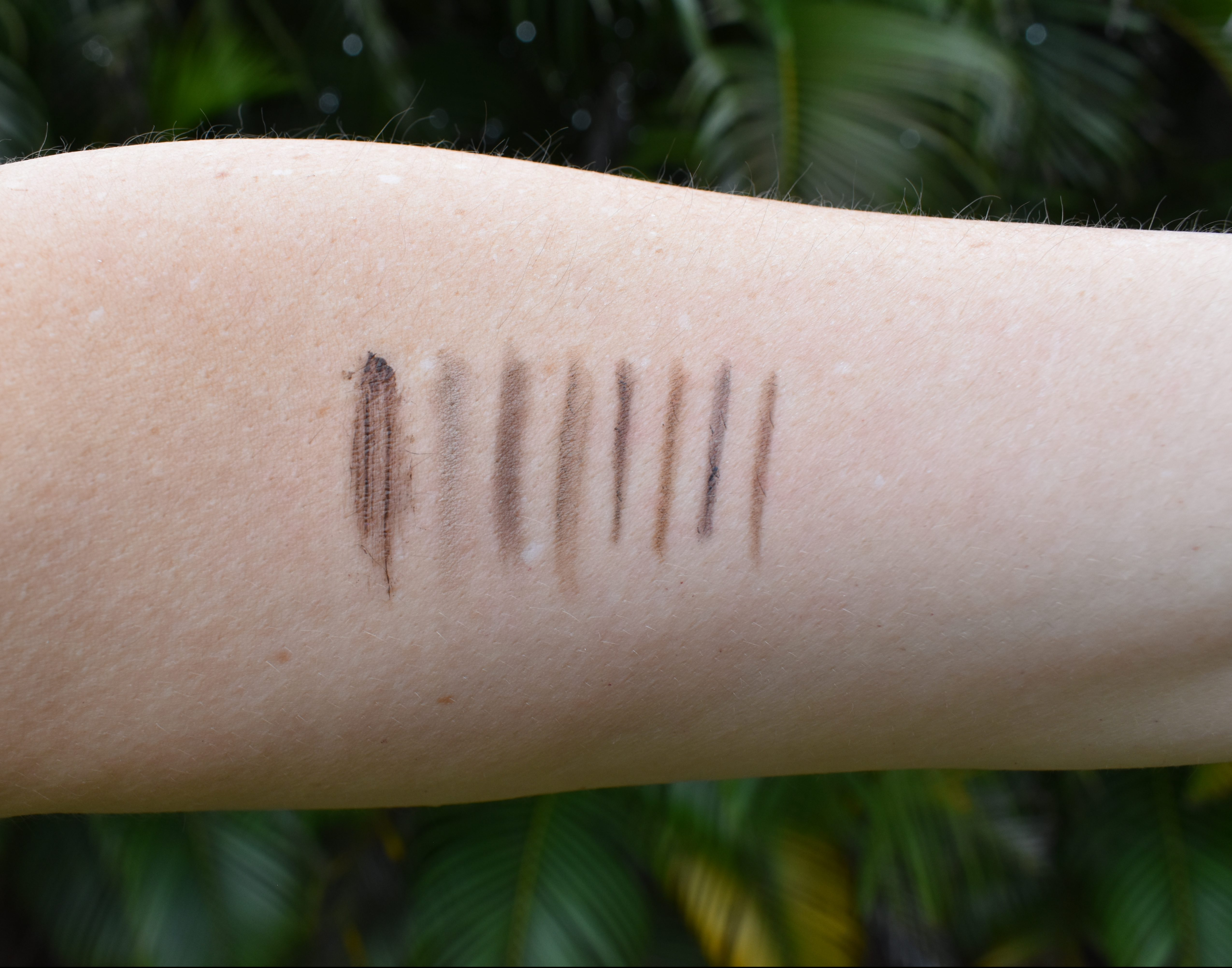 brow pencils swatch, brow comparisons, brow pencils, brunette brows