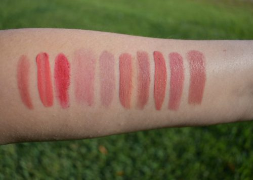 Nars Lipstick Swatch, Armani 504 swatch, ruby woo swatch, glossier like swatch, Serge Lutens lipstick swatch, Charlotte tilbury very Victoria swatch, chantecaille honeypot swatch, Chanel amoreaux swatch