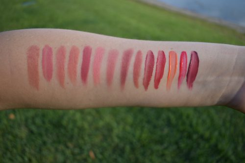 Chanel Adrienne swatch, Armani 100 swatch, Laura Mercier sensual swatch, w3ll people soul mate swatch, onyx squad goals swatch, surratt gentillesse swatch, Tom Ford shade and illuminate lips swatch