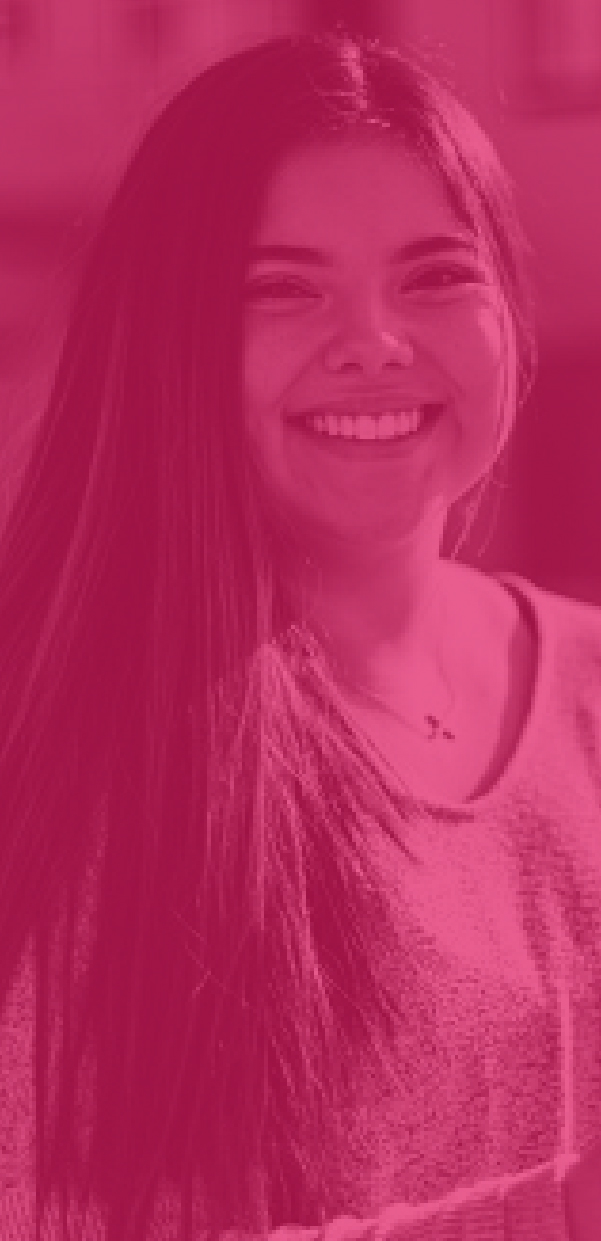 Pink Overlay over a photos of a Native American Girl Smiling