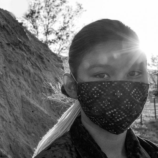 Native American Girl wearing a COVID Mask