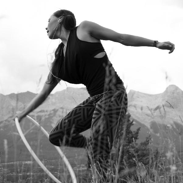 Native American Girl practicing Hoop Dancing,