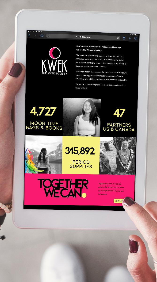 The Kwek Society Website Design Mockedup on a tablet