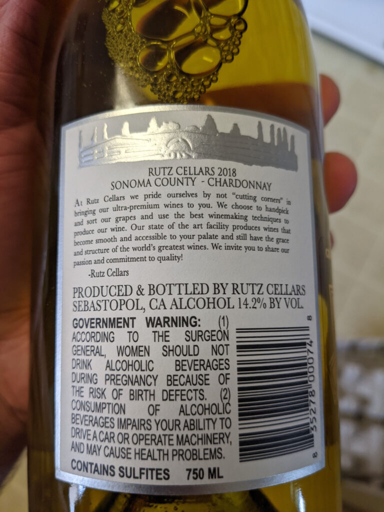 Rutz Cellars Chardonnay Review and Back Label picture