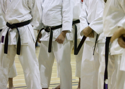 A Row of Black Belts after a test