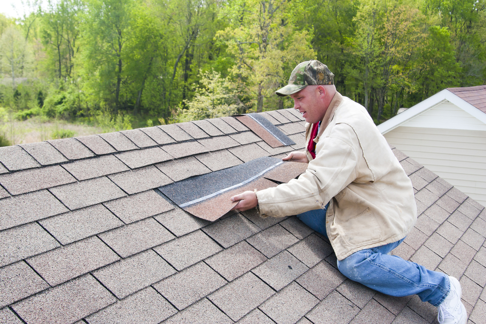 Professional roofer inspecting a roof