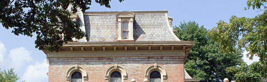 Mansard roof on house