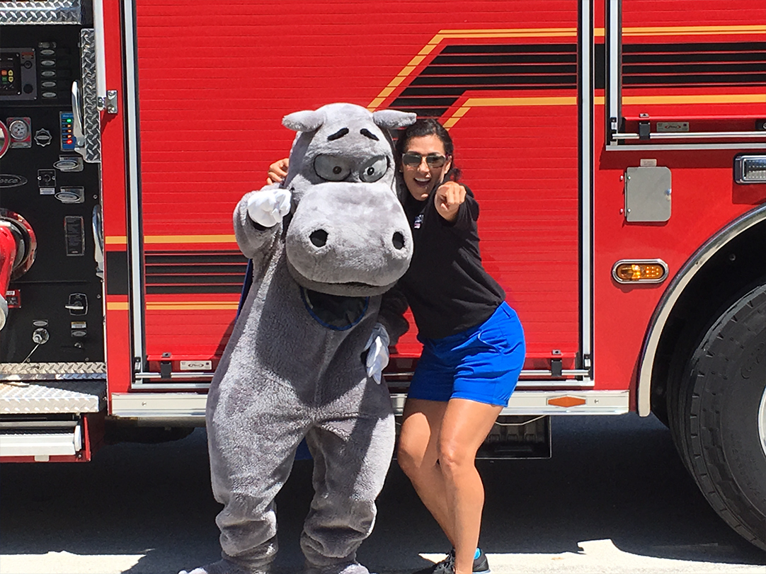 Hippo with a firetruck
