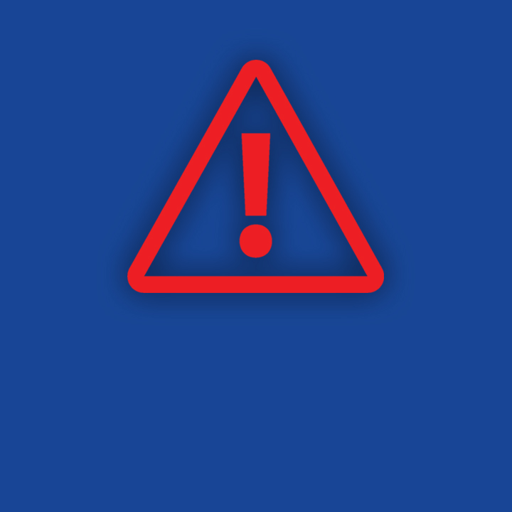 Red and blue warning sign icon