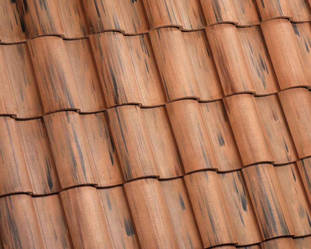 Weathered Terracotta Flashed tile roof color swatch