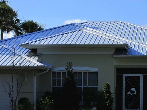 Grey metal roof on home