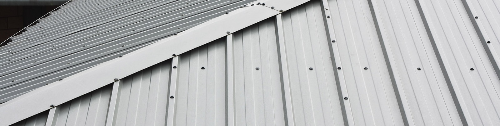 Metal roof in gray silver color