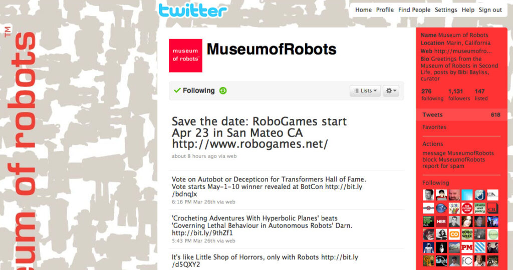 Museum of Robots on Twitter