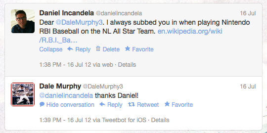Me and Dale Murphy on Twitter